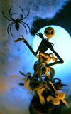 Happy halloween. Jack Skeleton with ghosts and spider stock photo