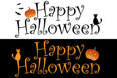 Happy Halloween. Illustration of Happy Halloween title in two versions:isolated on white and isolated on black.EPS file available