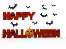 Happy halloween. Lettering with graphic of fiery pumpkin Royalty Free Stock Images