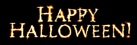 Happy Halloween. The word Happy Halloween created with flaming letters Royalty Free Stock Photography