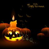 Happy halloween. Illustration of pumpkins and a candle on a Halloween Background Stock Photo