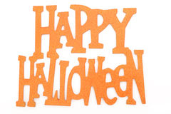 Happy Halloween. Photograph of a happy halloween sign shot in studio and isolated on a white background royalty free stock photography
