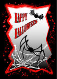 Happy halloween. A Happy Halloween postcard with the bat and the spider Royalty Free Stock Photo