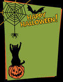 Happy Halloween!. Halloween background of a mischievous cat sitting on a pumpkin and swatting at a spider while a bat looks on. Type style is my own design Stock Images