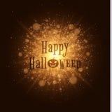 Happy Halloween . Abstract golden lights. Big bright flash of light. Gold dust. Cartoon Halloween pumpkin. Beautiful text on the b Stock Images