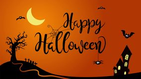 Happy Halloween animated text in a cartoon style.