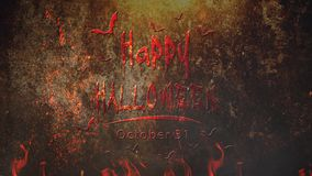 Happy Halloween Animated Title in Fire 4K Loop