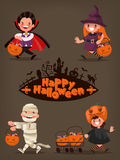 Happy Halloween. Baby characters with baskets of candy. Vector i. Llustration of a flat design Stock Photography