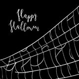 Happy halloween backdrop with creepy cobweb. Abstract detailed spider web silhouette on black background vector illustration. Realistic design element for Royalty Free Stock Images