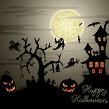 Happy Halloween background. Happy Halloween greeting card with ghosts, graves, bats, pumpkins, etc Stock Photo