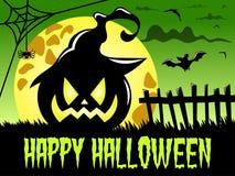 Happy Halloween background big pumpkin witch hat full moon Stock Image