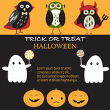 Happy Halloween background with black cute cat vector.  Stock Photos
