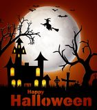 Happy Halloween background with castle and witch Royalty Free Stock Photo