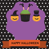 Happy Halloween background with cup cake witch and pumpkin witch Royalty Free Stock Photos