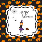 Happy Halloween background with cute little witch  vector. illus Royalty Free Stock Images