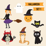 Happy Halloween background with cute little witch  vector Royalty Free Stock Image