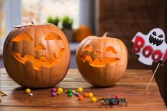 Happy Halloween. Background in front of a window with pumpkins, Royalty Free Stock Images