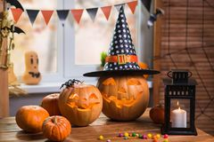 Happy Halloween. Background in front of a window with pumpkins, Stock Photography