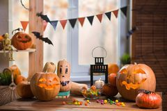 Happy Halloween. Background in front of a window with pumpkins, Stock Image