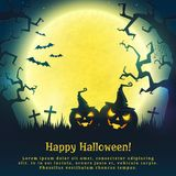 Halloween spooky background. Happy Halloween! Background with full moon, scary trees and evil pumpkins. Spooky night. Banner with copy space for greetings Royalty Free Stock Image