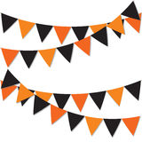 Happy halloween background. Garland of colored flags. Festive flags for decoration. Garlands of flags on a white background. Royalty Free Stock Photo