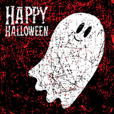 Happy Halloween background. With ghost and calligraphy inscription. Vector illustration. Hipster brush made texture Stock Photography