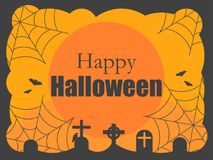 Happy Halloween. Background with graves, cobwebs and a full moon. Night of All Saints. Vector Royalty Free Stock Photos