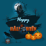 Happy Halloween background with haunted castle and Halloween pumpkins. Happy Halloween background with haunted castle in moonlight; Holidays, template with skull Royalty Free Illustration