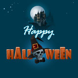 Happy Halloween background with haunted castle and a skull wearing black wizard hat Stock Image