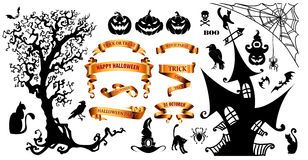 Happy Halloween background with holiday symbols Stock Image