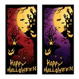 Happy Halloween Background Illustration banner template with scary tree stock illustration