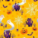 Happy halloween. Halloween background image by watercolor paint touch vector illustration