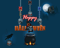 Happy Halloween, background with a magic cauldron and haunted castle Stock Image