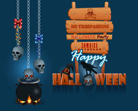 Happy Halloween, background with a magic cauldron and wooden sign Stock Photos