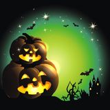Happy Halloween. Background with pumpkin aund stars Royalty Free Stock Images