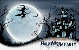 Happy Halloween background with pumpkin, full moon. Halloween party. Vector illustration. Happy Halloween background with pumpkin, haunted house and full moon Stock Image