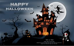 Happy Halloween background with pumpkin, full moon. Halloween party. Vector illustration. Happy Halloween background with pumpkin, haunted house and full moon Stock Photos