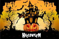 Happy Halloween background with pumpkin, full moon. Halloween party. Vector illustration. Happy Halloween background with pumpkin, haunted house and full moon Royalty Free Stock Photo