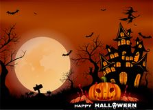Happy Halloween background with pumpkin, full moon. Halloween party. Vector illustration. Happy Halloween background with pumpkin, haunted house and full moon Royalty Free Stock Image