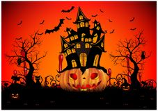 Happy Halloween background with pumpkin, full moon. Halloween party. Vector illustration. Happy Halloween background with pumpkin, haunted house and full moon Stock Images
