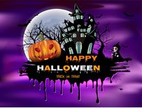 Happy Halloween background with pumpkin, full moon. Halloween party. Vector illustration Stock Photography
