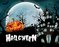 Happy Halloween background with pumpkin, full moon. Halloween party. Vector illustration. Happy Halloween background with pumpkin, haunted house and full moon Royalty Free Stock Images