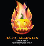 Happy Halloween background with pumpkin and place for text. Happy Halloween background with fire pumpkin and place for text Royalty Free Stock Photos