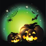 Happy Halloween. Background with pumpkin and stars Stock Image