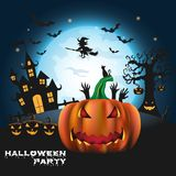 Happy Halloween background with pumpkin and zombies   Royalty Free Stock Image