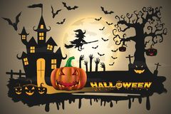 Happy Halloween background with pumpkin and zombies  Royalty Free Stock Images