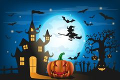 Happy Halloween background with pumpkin and zombies   Royalty Free Stock Photography