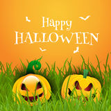 Happy Halloween background with pumpkins Stock Images