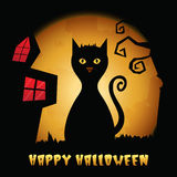 Happy Halloween background with scary cat. Stock Photos