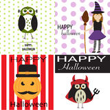 Happy Halloween background with scary pumpkins,spooky owl,devil Stock Image